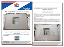 Full fill cavity wall insulation in areas of very severe exposure to wind-driven rain
